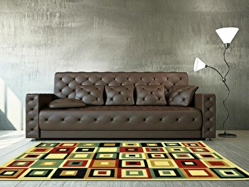 Covor Decorino Modern & Geometric C23-030206, Bej/Multicolor, 100×150 cm de la Decorino
