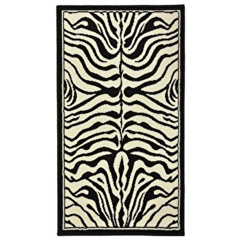 Covor Decorino Animal Print C05-020183, Alb/Negru, 60×110 cm de la Decorino