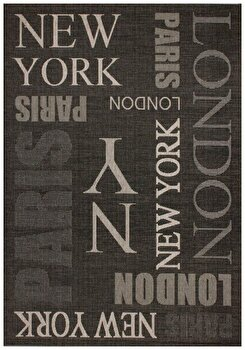 Covor Decorino Modern & Geometric C04-220106, Negru/Gri, 80×150 cm de la Decorino