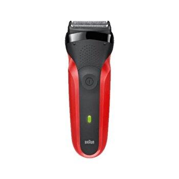 Aparat de ras Braun 300 Red 3-Flex, 3 elemente de ras, Wet&Dry, Acumulator de la Braun