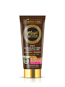 Crema bronzanta hidratanta Magic Bronze 2 in 1 pentru corp, dark skin, 200 ml de la Bielenda