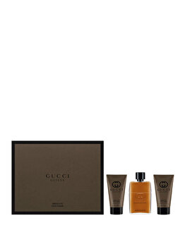 Set cadou Gucci Guilty Absolute (Apa de parfum 50 ml + After shave balsam 50 ml + Gel de dus 50 ml), pentru barbati de la Gucci