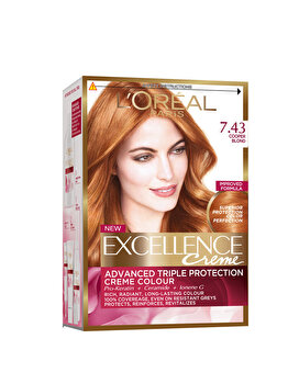 Vopsea de par permanenta cu amoniac L Oreal Paris Excellence 7.43 Blond Aramiu 192 m, 192 ml