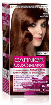 Vopsea de par permanenta cu amoniac Color Sensation cu pigmenti intensi 5.35 Saten Scortisoara, 110 ml de la Garnier Color Sensation