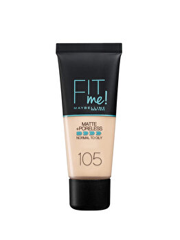 Fond de ten matifiant Maybelline New York Fit Me Matte & Poreless 105 Natural Ivory, 30 ml de la Maybelline