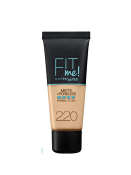 Fond de ten matifiant Maybelline New York Fit Me Matte & Poreless 220 Natural Beige, 30 ml de la Maybelline