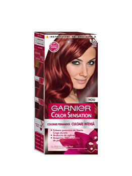 Vopsea de par permanenta cu amoniac Color Sensation cu pigmenti intensi 6.60 Rubin Intens, 110 ml de la Garnier Color Sensation