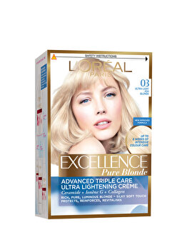 Vopsea de par permanenta cu amoniac L Oreal Paris Excellence 03 Blond Ultra-Deschis Cenusiu , 192 ml de la L Oreal Excellence