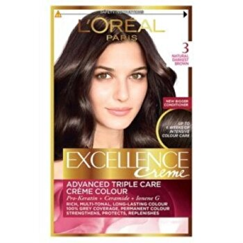 Vopsea de par permanenta cu amoniac L Oreal Paris Excellence 3 Saten Inchis 192 ml, 192 ml de la L Oreal Excellence