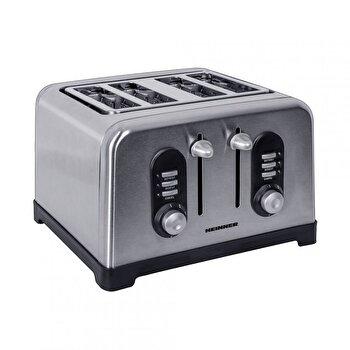 Prajitor de paine Heinner Toastit 1400 HTP-BK1400XMC, capacitate: 4 felii, putere: 1400-1600W, argintiu de la Heinner