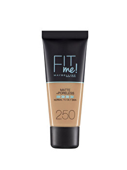 Fond de ten matifiant Maybelline New York Fit Me Matte & Poreless 250 Sun Beige, 30 ml de la Maybelline