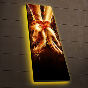 Tablou pe panza iluminat Ledda, 254LED3251, 30 x 90 cm, Multicolor de la Ledda