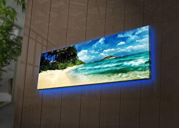 Tablou pe panza iluminat Ledda, 254LED3267, 30 x 90 cm, Multicolor de la Ledda