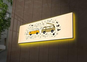 Tablou pe panza iluminat Ledda, 254LED3272, 30 x 90 cm, Multicolor de la Ledda
