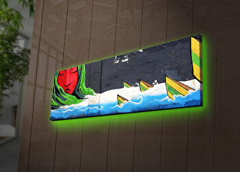 Tablou pe panza iluminat Ledda, 254LED3273, 30 x 90 cm, Multicolor de la Ledda