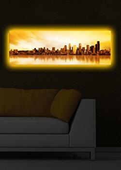 Tablou iluminat Shining, 239SHN1267, 30 x 90 cm, Galben de la Shining