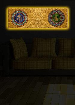 Tablou iluminat Shining, 239SHN1274, 30 x 90 cm, Galben de la Shining