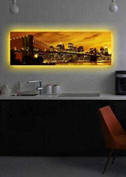 Tablou iluminat Shining, 239SHN1253, 30 x 90 cm, Galben