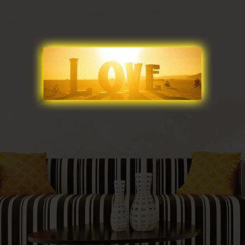 Tablou iluminat Shining, 239SHN3264, 30 x 90 cm, Galben de la Shining