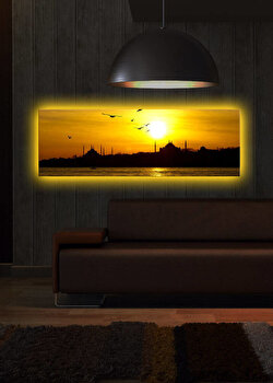 Tablou iluminat Shining, 239SHN1258, 30 x 90 cm, Galben de la Shining