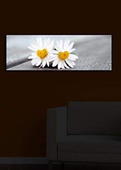 Tablou pe panza iluminat Shining, 239SHN1212, 30 x 90 cm, Multicolor de la Shining