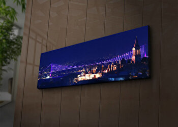 Tablou pe panza iluminat Shining, 239SHN1214, 30 x 90 cm, Multicolor de la Shining