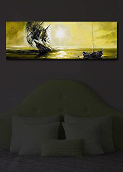 Tablou pe panza iluminat Shining, 239SHN1216, 30 x 90 cm, Multicolor de la Shining