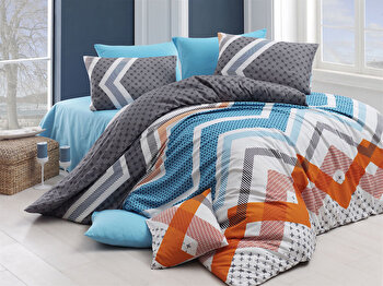 Set lenjerie pentru pat dublu Nazenin Home, 164NZN1263, Multicolor de la Nazenin Home