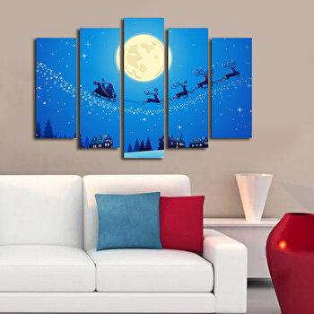 Tablou decorativ Christmas Wall, 5 Piese, 229CST1202, Albastru de la Christmas Wall