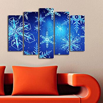 Tablou decorativ pe panza Christmas Wall, 5 Piese, 229CST1209, Albastru de la Christmas Wall
