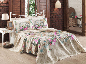 Cuvertura pentru pat single Eponj Home, 100 procente bumbac, 143EPJ5376, 160×240 cm, Roz de la Eponj Home