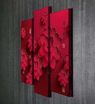 Tablou decorativ pe panza Majestic, 3 Piese, 257MJS3285, Multicolor