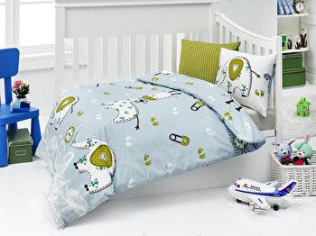 Set lenjerie de pat pentru copii Nazenin Home, 164NZN2002, Albastru de la Nazenin Home