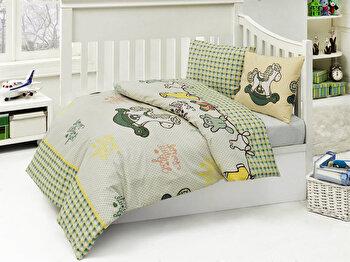 Set lenjerie de pat pentru copii Nazenin Home, 164NZN2005, Verde de la Nazenin Home