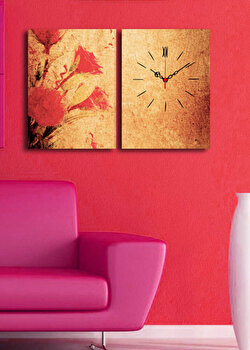 Ceas decorativ de perete Clock Art, 2 Piese, 228CLA2645, Multicolor de la Clock Art