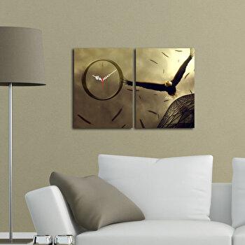 Ceas decorativ de perete Clockity, 2 Piese, 248CTY1671, Multicolor de la Clockity