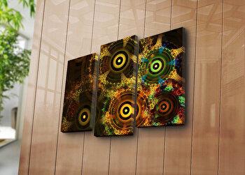 Tablou decorativ pe panza Canvart, 3 Piese, 249CVT1249, Multicolor de la Canvart