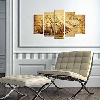 Tablou decorativ multicanvas Charm, 5 Piese, Piratii din Caraibe, 223CHR3940, Multicolor de la Charm