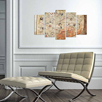 Tablou decorativ multicanvas Charm, 5 Piese, Harta Lumii, 223CHR3941, Multicolor de la Charm