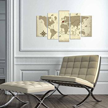 Tablou decorativ multicanvas Charm, 5 Piese, Europa, 223CHR3942, Bej de la Charm