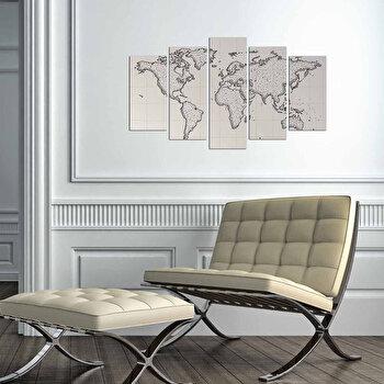 Tablou decorativ multicanvas Charm, 5 Piese, Harta Lumii, 223CHR3943, Multicolor de la Charm