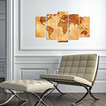 Tablou decorativ multicanvas Charm, 5 Piese, Harta Lumii, 223CHR3950, Multicolor de la Charm