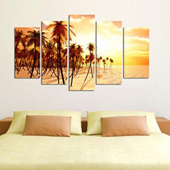 Tablou decorativ multicanvas Charm, 5 Piese, Plaja, 223CHR1910, Multicolor