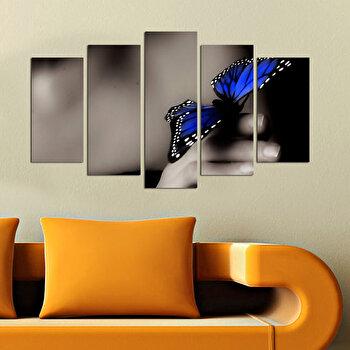 Tablou decorativ multicanvas Charm, 5 Piese, Fluture, 223CHR1965, Multicolor