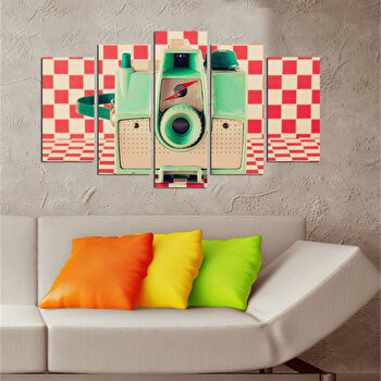 Tablou decorativ multicanvas Charm, 5 Piese, Retro, 223CHR1985, Multicolor