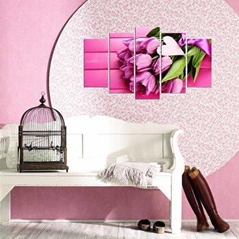 Tablou decorativ multicanvas Charm, 5 Piese, 223CHR3920, Roz