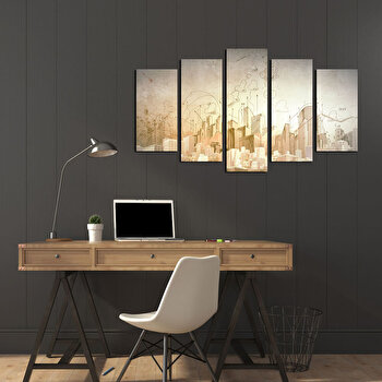 Tablou decorativ multicanvas Pure, 5 Piese, 250PUR1929, Multicolor