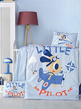 Set lenjerie de pat Victoria, pentru copii, 121VCT2024, Albastru