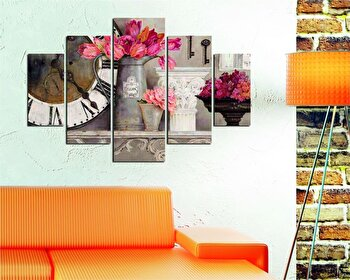 Tablou decorativ multicanvas Destiny, 5 Piese, Retro, 247DST1905, Multicolor de la Destiny
