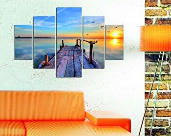 Tablou decorativ multicanvas Destiny, 5 Piese, Peisaj, 247DST1909, Multicolor de la Destiny